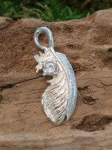 Feder 925 Silber mit Zirkoniasteinchen