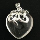 Wunderschönes Facettiertes Herz aus Bergkristall mit Sterlingsilberverzierung 26x26mm AH 53