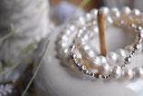 2xArmband Süsswasserperlen weiss 5mm  mi teinem 925 Silberkugel-Armband