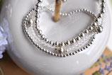 1xArmband Bergkristall 3mm mit Silberkugel und einem 925 Silberkugel-Armband 1x5mm und 1x2mm