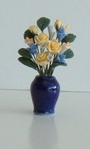 Dark Blue Ceramic Vase with Flowers