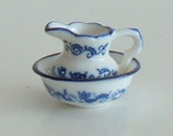 Blue & White Patterned Porcelain Washbowl and Jug