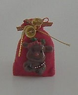 Red Large Faced Reindeer Christmas Gift Sack