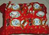 15pc Red Blue & Green Floral Dining Set