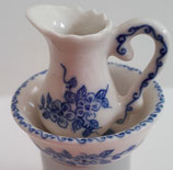 Blue & White Patterned Porcelain Jug & Washbowl