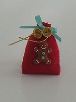 Red Gingerbread Man Christmas Gift Sack