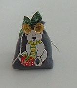 Grey Miniature Christmas Gift Sack with White Polar Bear