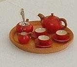 Wooden Red Tea Set