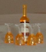 Wine Bottle & 4 Glasses