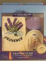 Set aus Ovalem Keramikteller, 100 g Lavendelseife & 1 Handtuch