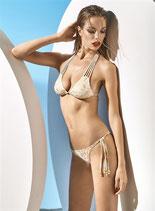 PARAH Bikini GOLD AND SAND Coppe Push-Up a Triangolo con Laccetti e Perline Dorate + Brasiliana
