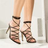 GUESS Aeyla Crossed Sandals Sandali alla Romana Neri con Fibbie Intrecciate Tacco 10 cm