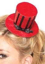 LEG AVENUE Mini Cappello a Cilindro in Velluto Rosso con Strisce Nere |LA-A1067|