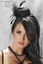 Chilirose Mini Cappello Nero con Rete Piume Fiocco e Pietra |CR-3220|