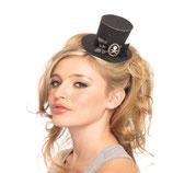 LEG AVENUE Mini Cappello a Cilindro Nero con Glitter e Cammeo Teschio Pirata |LA-A1068|