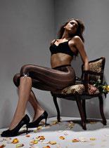 GAETANO CAZZOLA Capri Leggings Panty al Ginocchio Mod. VENUS 40 DEN Coprente Ricamato e Traforato
