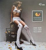 GAETANO CAZZOLA Autoreggenti Parigina Moda Mod. PATTY 40 DEN Coprente con Fori e Fiocco