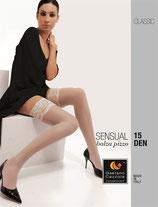 GAETANO CAZZOLA Calze Autoreggenti Mod. SENSUAL Velate 15 DEN con Balza 10cm in Pizzo |3017|