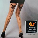 GAETANO CAZZOLA Collant Moda in Lycra Mod. GIOS 20 DEN con Riga Dietro e Tribale a Contrasto