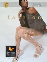 GAETANO CAZZOLA Collant Moda Mod. JENNY 20 DEN Velato con Ricami Floreali a Contrasto