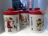 Weihnachtskeramikdose mit Nikolaus oder Rentier