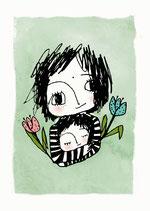 "Postkarte ""Blumenkinder"""