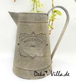 Deko Milchkanne mit Emblem, matt grau