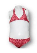 Bikini elastan estampado niña rojo Dadati