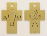 Wand- oder Brustkreuz : Kelch/Traube - Brot/Ähre