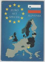 """Kursmünzensatz Slowenien:              1 Cent bis 2 Euro 2007   im  Folder der Firma """"Leuchtturm"""" ."""
