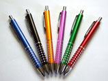Kugelschreiber, Aluminium, Gravur, blaue Mine, leicht schreibender Kuli, Top