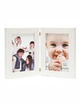 CADRE DIPTYQUE EN LOOK PEINT BLANC  OU BRUN AVEC 2 PHOTOS  10 x 15 cm VERTICALES