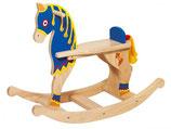 Schaukelpferd Ritter blau Holz
