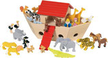 Arche Noah in Holz mit vielen Tieren