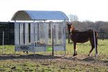 Pferde-Viereckraufe mit Sicherheitsfressgitter