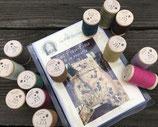 Kit sac et pochette Piou-Piou et ses 13 bobines de rustic wool Moire .