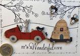 "Carte postale "" Jojo-ruche-abeilles-chariot"