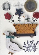 Oies et fleurs, jardinière