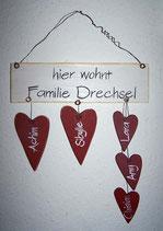 Familien-Schild Herzen