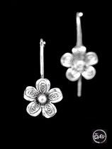 Boucles d'oreilles en argent fleurs 30
