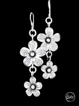 Boucles d'oreilles en argent fleurs 21