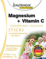 Magnesium + Vitamin C - 30 sticks for immediate usage (no water needed)