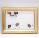 Steinbild Vögel