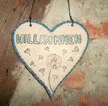 """""""Willkommen"""" Herz mit Pusteblumen"""