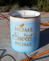 """Bougie végétale bleue senteur fraise """"Home Sweet Home"""""""