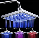 8 Inch Chrome Plated Square LED Shower Head