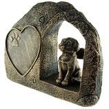 GD743 Hundeurne mit Engelsflügeln und einem Herz in bronzefarben - 0,75 Liter