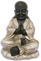 ZV-B8038XL Buddha Urne im Lotussitz schwarz/silber - 7 Liter