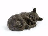 """PB-RCU Wunderschöne Katzenurne """"Schlafende Katze"""" antik-bronzefarben lackiert- 0,4 Liter"""