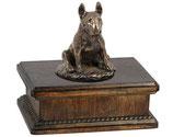 """Hundeurne """"Bullterrier"""" aus Holz mit einer Skluptur - 3,5 Liter"""